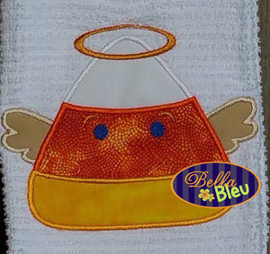 Halloween Angel with Halo Candy Corn Machine Applique Embroidery Design