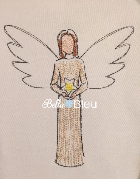 Stunning Angel with Star Colorwork Machine Embroidery Design