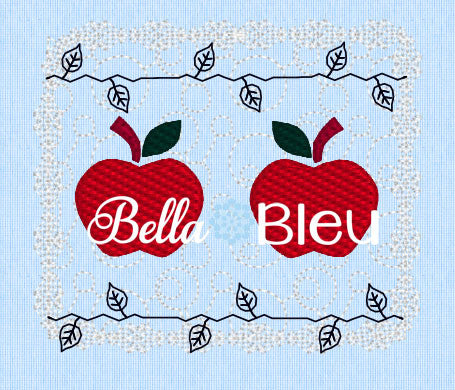 Adorable Apple Faux Smocking Machine Embroidery Design