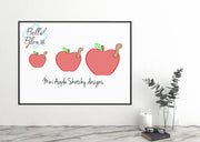 BTS Back To School Mini Apple & Worm Sketchy Machine Embroidery Design