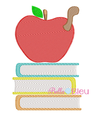 Sketchy School books Apple Worm back to school machine embroidery design