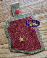 ITH In the Hoop State of Arizona Key fob Luggage tag machine embroidery design