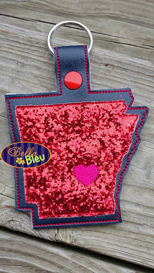 ITH in the hoop state of Arkansas Key fob luggage tag machine embroidery design