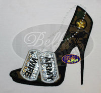 Sexy Armed Forces Army Stiletto Heels Applique Embroidery Designs Design