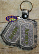 ITH in the hoop Army Armed Forces Key Fob Luggage Tag Keychain machine embroidery