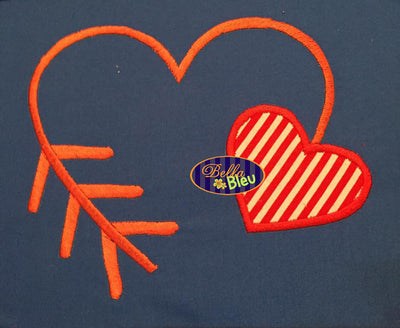 Valentines Applique Heart Arrow Arrows Embroidery Design