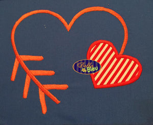 Applique Heart Arrow Arrows Embroidery Design