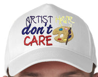 Artist Hair Don't Care Baseball Hat Cap Machine Embroidery Design, Painting Pallet