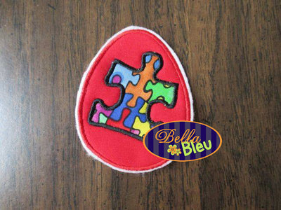 Autism Awareness Egg Machine Applique Embroidery Design