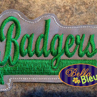 ITH in the hoop Badgers Sports Headband Slider Topper machine embroidery