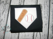 Softball Baseball Bat Ball Home Plate Machine Applique Embroidery Design