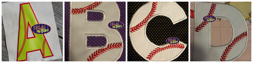 Applique Baseball Alphabet Font A to Z with Stitches Applique Embroidery  Design