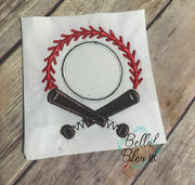 Baseball Bats Ball & Stitches Frame Monogram Embroidery Design