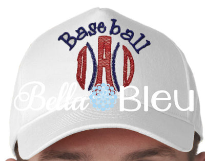 Baseball Dad sketchy baseball cap hat machine embroidery design