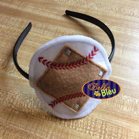ITH in the hoop Summer Baseball Diamond Headband Slider Topper machine embroidery