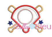 Baseball Field Monogram Applique Embroidery Design SL