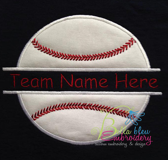 Baseball Softball Split Applique Embroidery Design Monogram