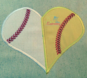 Baseball Softball Divided Heart Applique Embroidery Design