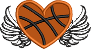 Basketball Heart with Wings Applique