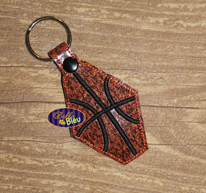 ITH in the hoop basketball key fob luggage tag machine embroidery design