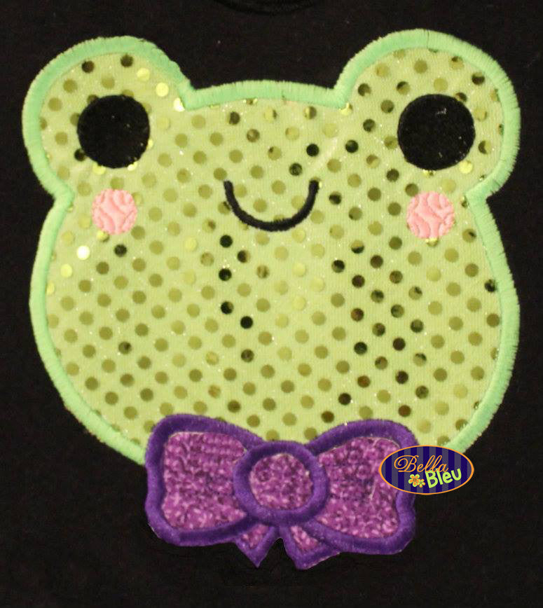 Adorable Kawaii Frog Boy with Bow Tie Animal Applique Embroidery Design