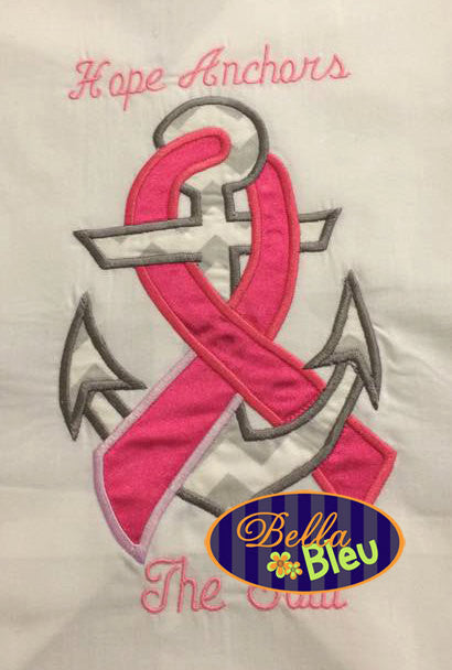 Breast Cancer Anchor Machine Applique Embroidery Designs Design