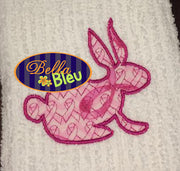 Beautiful Easter Bunny Rabbit with Breast Cancer Motif Applique Embroidery  Design