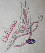 Breast Awareness Cancer Ribbon Butterfly Filled line art Fight Machine Embroidery Design