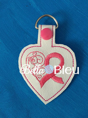 ITH in the hoop Awareness Cancer Key Fob machine embroidery Breast Cancer