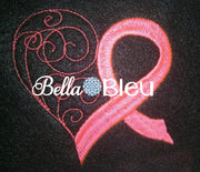 Cancer Awareness Ribbon Heart Filled machine embroidery design