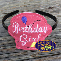 ITH in the hoop Birthday Girl Cupcake Headband Topper machine embroidery