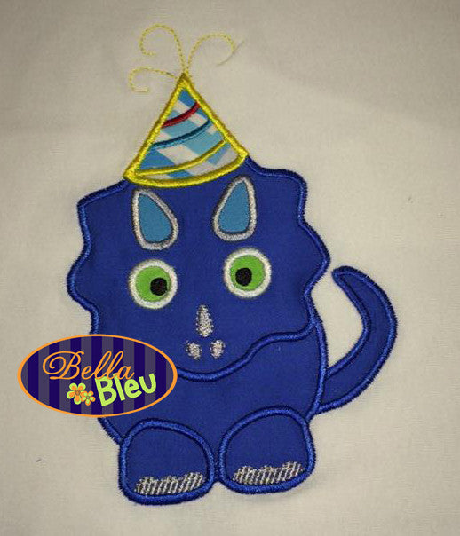 Birthday Dinosaur with Hat Applique Embroidery Designs