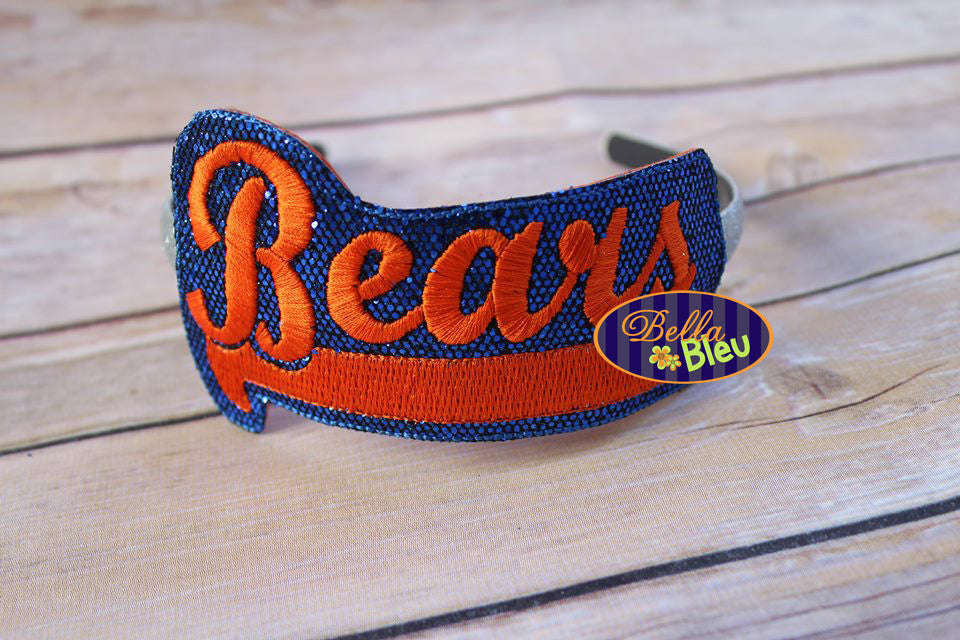 ITH in the hoop Bears Sports Headband Topper machine embroidery