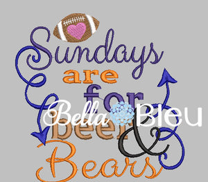 Sundays are for beer and Bears Football Machine Embroidery Design