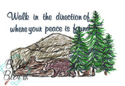 Walk in the direction where you peace is found nature scribble design