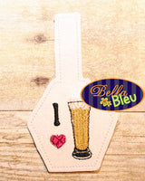 ITH In the hoop I love Beer key fob machine embroidery design