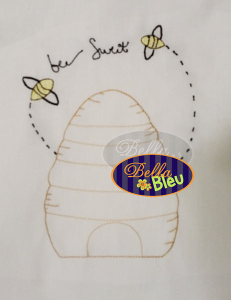 Bee Hive Bee Sweet Kitchen Towel Embroidery Colorwork Redwork design machine embroidery