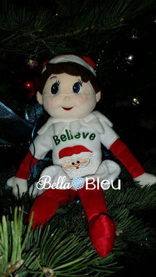 ITH  Plush Elf Believe in Santa Sweater Elf Sweater, Machine Embroidery Design