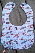 ITH In The hoop Baby Bib with longhorn stipple quilting Pattern