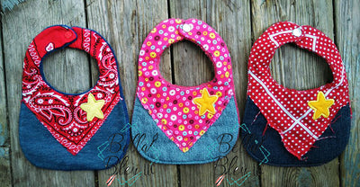 ITH In The hoop Sheriff Baby Bib with stars machine embroidery applique design