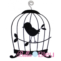 Bird Cage Silhouette Applique Embroidery Design SL
