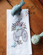 Retro Sketchy Wagon filled with flowers & birds