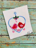 Love Birds on heart swing Applique Embroidery design
