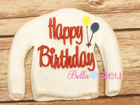 Happy Birthday with Balloons Elf Sweater In the hoop ith embroidery design