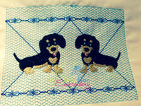 Faux Smocking Black and Tan Dachshund Weiner Dog Dogs Machine Embroidery Design