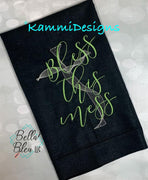 Bless This Mess Saying Embroidery Design - Religious Embroidery design