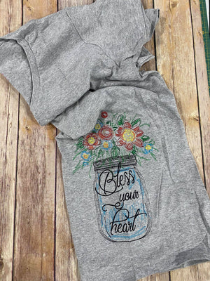 Bless Your Heart Flowers in Mason Jar Ladies Shirt