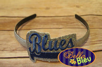 ITH in the hoop Blues Sports Headband Topper machine embroidery