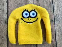 ITH Elf Inspired Sponge Bob face Sweater Shirt machine embroidery design