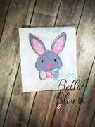 Easter Bunny face with bow tie applique Machine Embroidery design